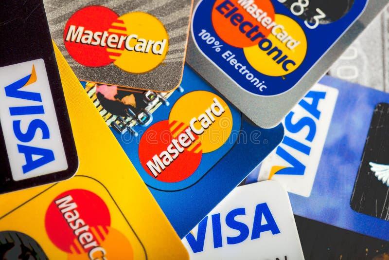 企业背景的信用卡 免版税图库摄影