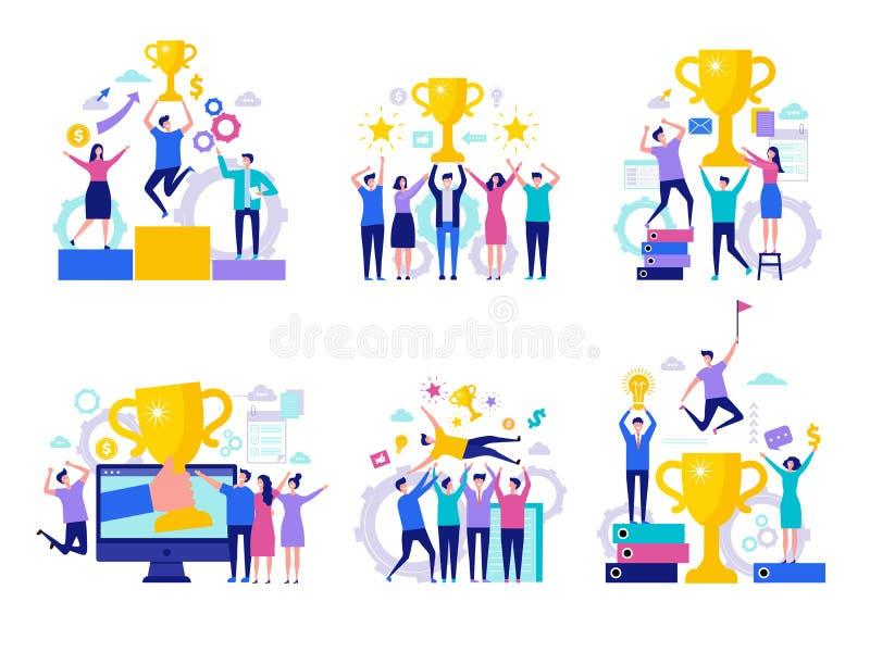 企业胜利概念 成功的愉快的财务经理主任赢得的奖励合作与杯子传染媒介字符 向量例证