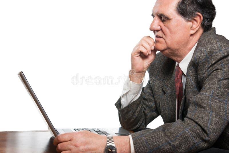 企业膝上型计算机人哀伤担心 图库摄影
