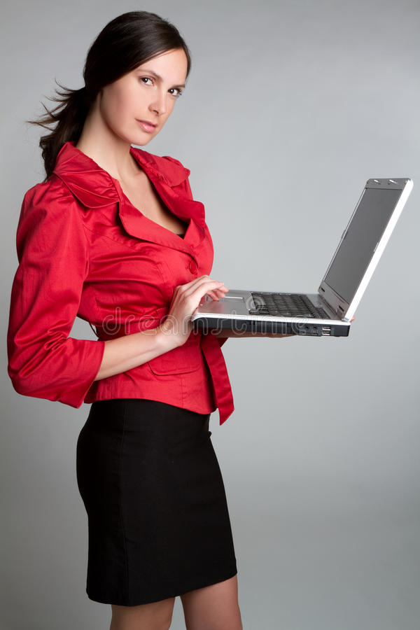 企业膝上型计算机妇女 库存照片