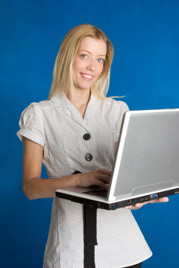 企业膝上型计算机妇女 免版税图库摄影