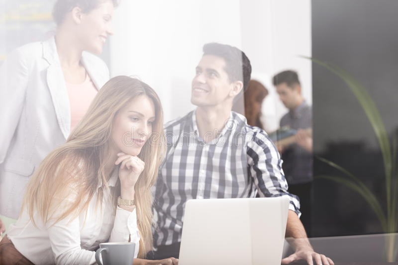 企业膝上型计算机小组使用 免版税库存图片