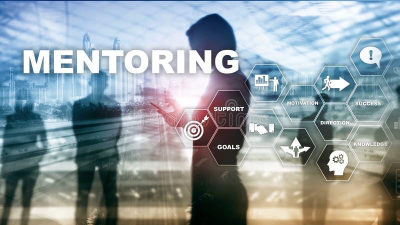 企业良师 个人教练 训练个人发展概念 混合画法 免版税库存照片