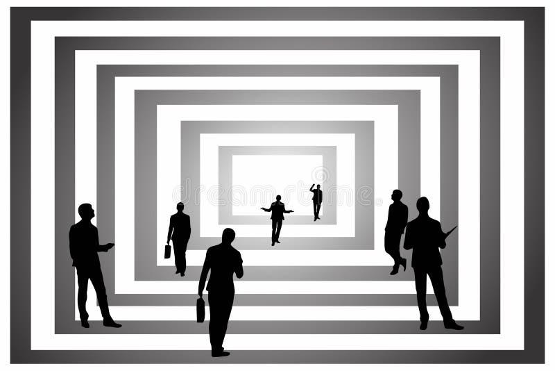 企业艺术现出轮廓艺术abstrack现代修造黑色白色 皇族释放例证