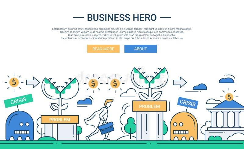 企业英雄线与企业挑战的平的设计横幅 皇族释放例证