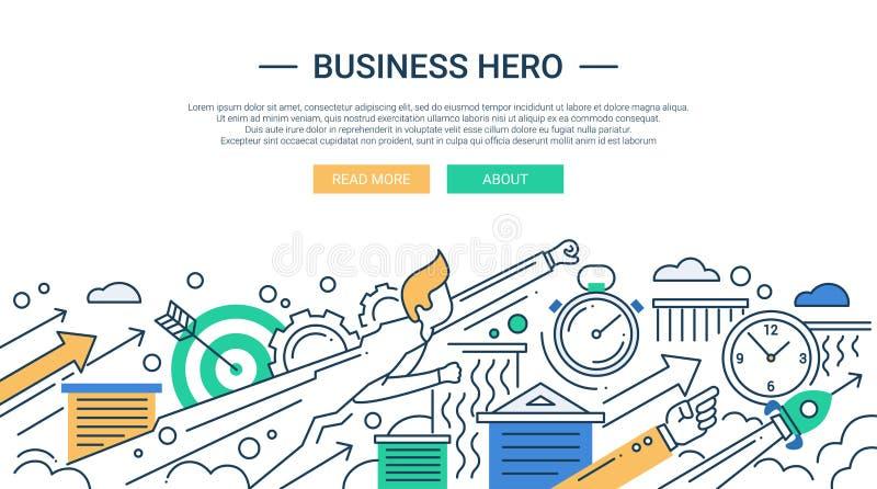 企业英雄线与超级英雄商人的平的设计横幅 向量例证