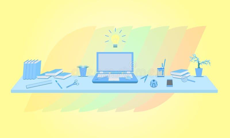 企业营销概念想法infographic与花树膝上型计算机书老鼠切削刀玻璃橡皮擦铅笔统治者传染媒介 库存例证