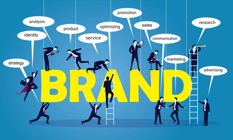 企业营销配合品牌概念 向量例证