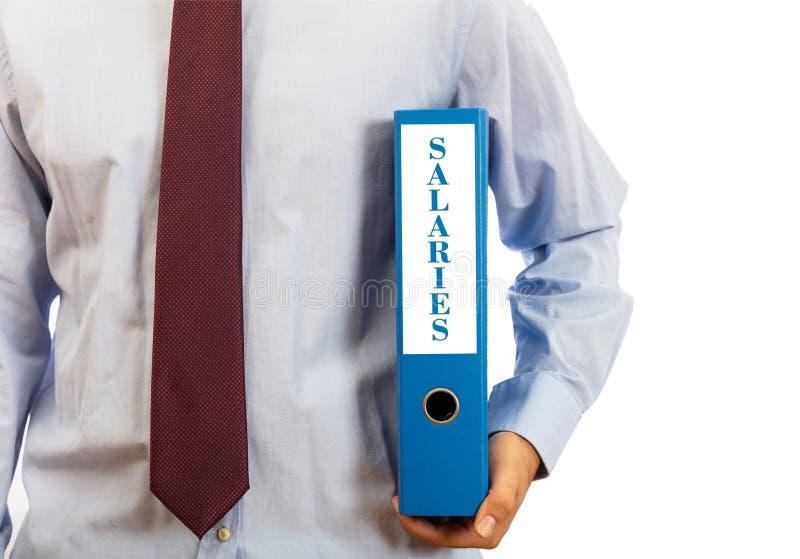 企业薪金 拿着在白色背景,文本的经理一个文件夹薪俸,裁减路线 库存图片