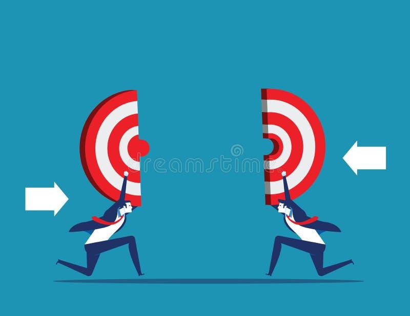 企业藏品目标 到达成功的配合 r 向量例证