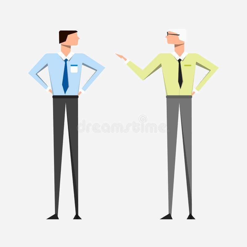 企业衣裳的苗条人有领带的谈话 库存例证