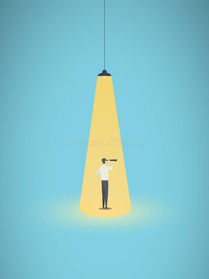 企业补充和headhunting的传染媒介概念与商人在聚光灯 有远见者的标志,事业 向量例证