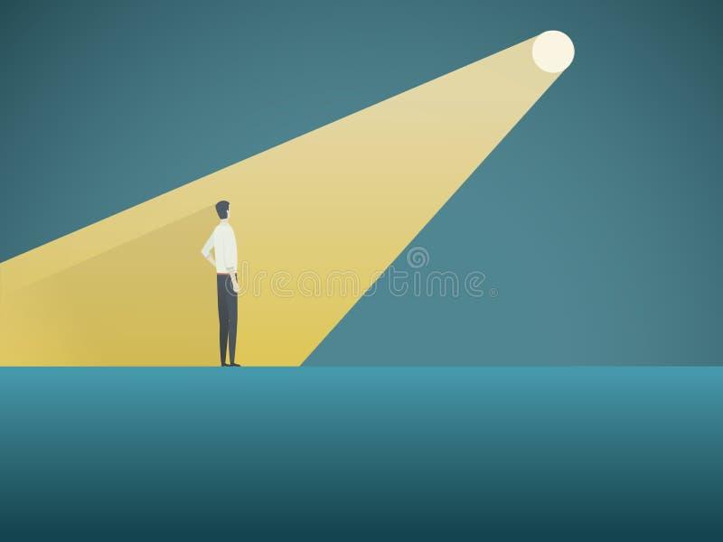 企业补充或聘用的传染媒介概念 并肩作战在聚光灯或探照灯的商人象标志的独特 库存例证