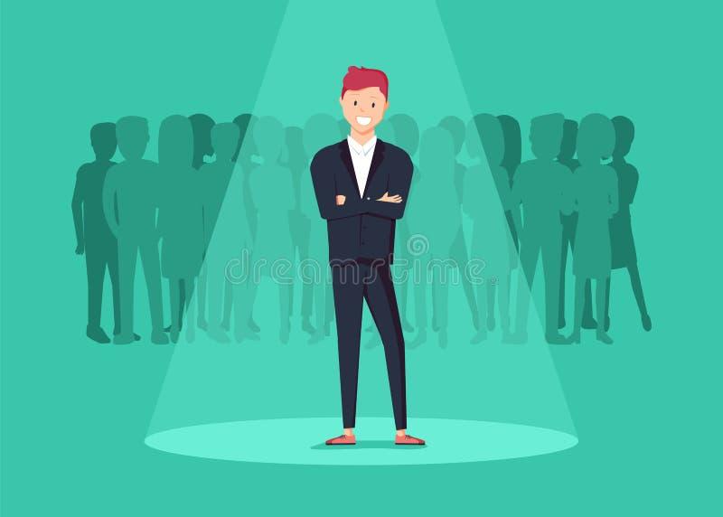 企业补充或聘用的概念 寻找天分 站立在聚光灯或searchligh的商人 皇族释放例证