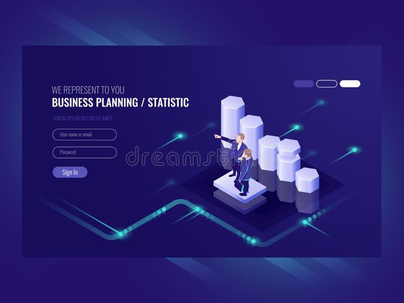 企业规划、统计、例证与两商人,团队负责人和共同的努力,电子商务成功 皇族释放例证