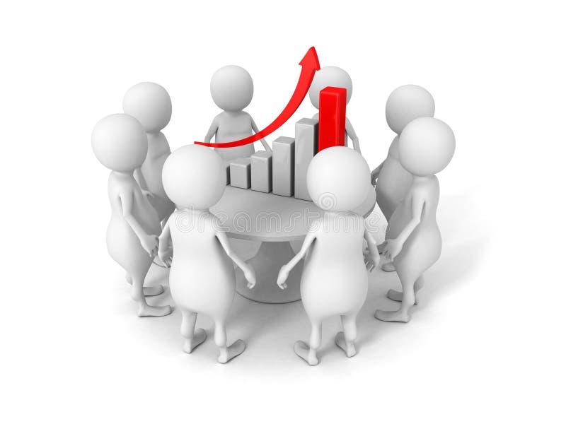 企业规划概念 3d在成功长条图附近的人们 库存例证