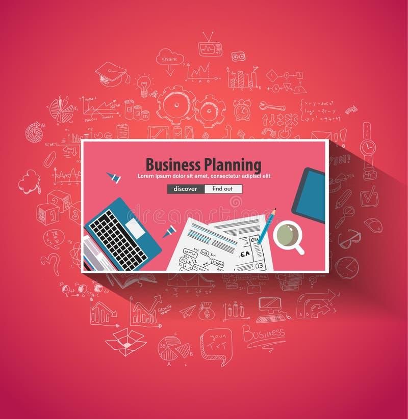 企业规划概念wih乱画设计样式 向量例证
