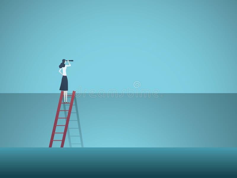企业视觉与站立在墙壁上的梯子顶部的女商人的传染媒介概念 克服障碍的标志 皇族释放例证