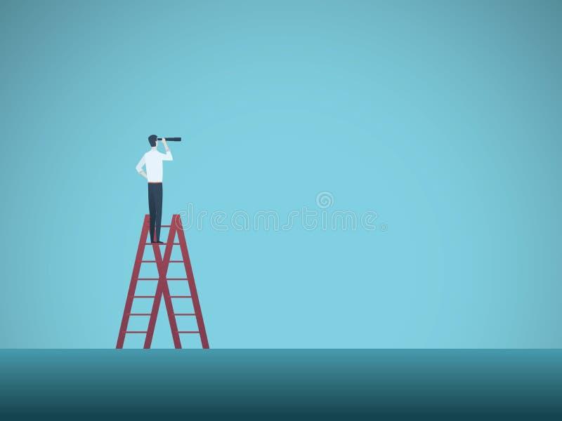 企业视觉与站立在梯子顶部的商人的传染媒介概念 有远见者的标志,挑战,事业 库存例证