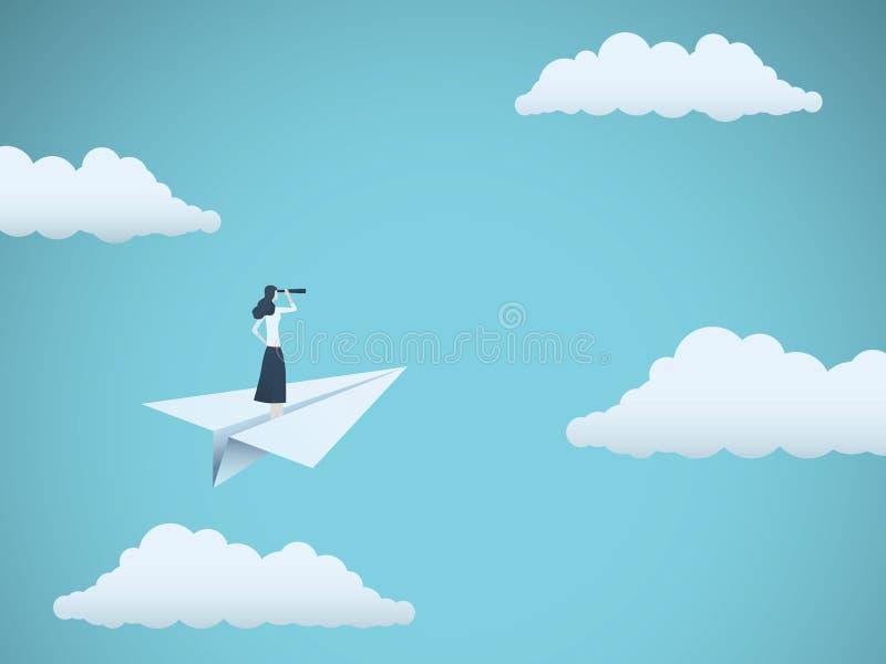 企业视觉或有远见者传染媒介概念与女实业家在纸飞机上有望远镜的 妇女领导的标志 向量例证