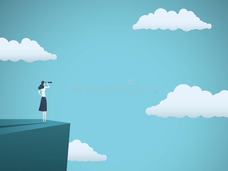 企业视觉或有远见者传染媒介概念与站立在峭壁顶部的女实业家与望远镜 妇女的标志 库存例证