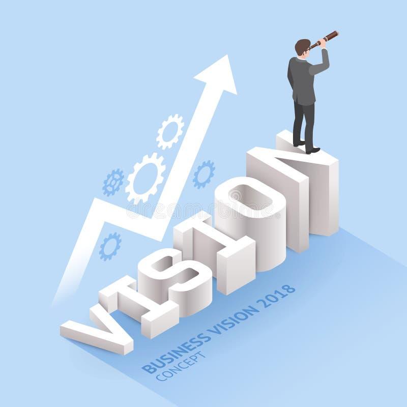 企业视觉概念 站立与双筒望远镜o的商人 向量例证