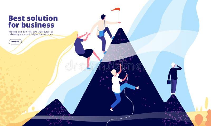 企业解答着陆 企业在山的队攀登 成功的公司网上咨询服务 ?? 向量例证