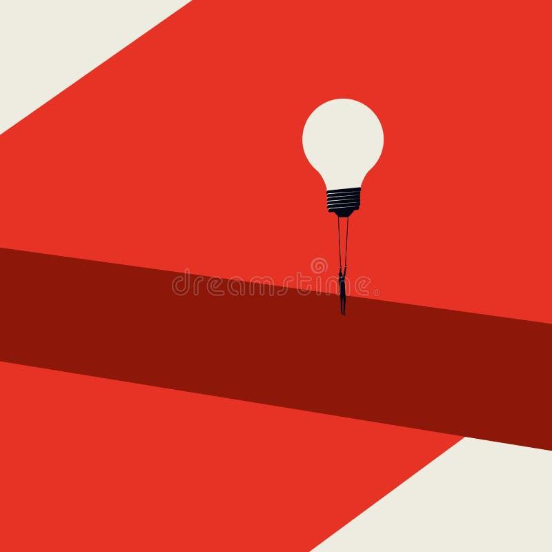 企业解答,被克服的挑战传染媒介概念 最低纲领派艺术样式 商人飞行电灯泡气球 皇族释放例证