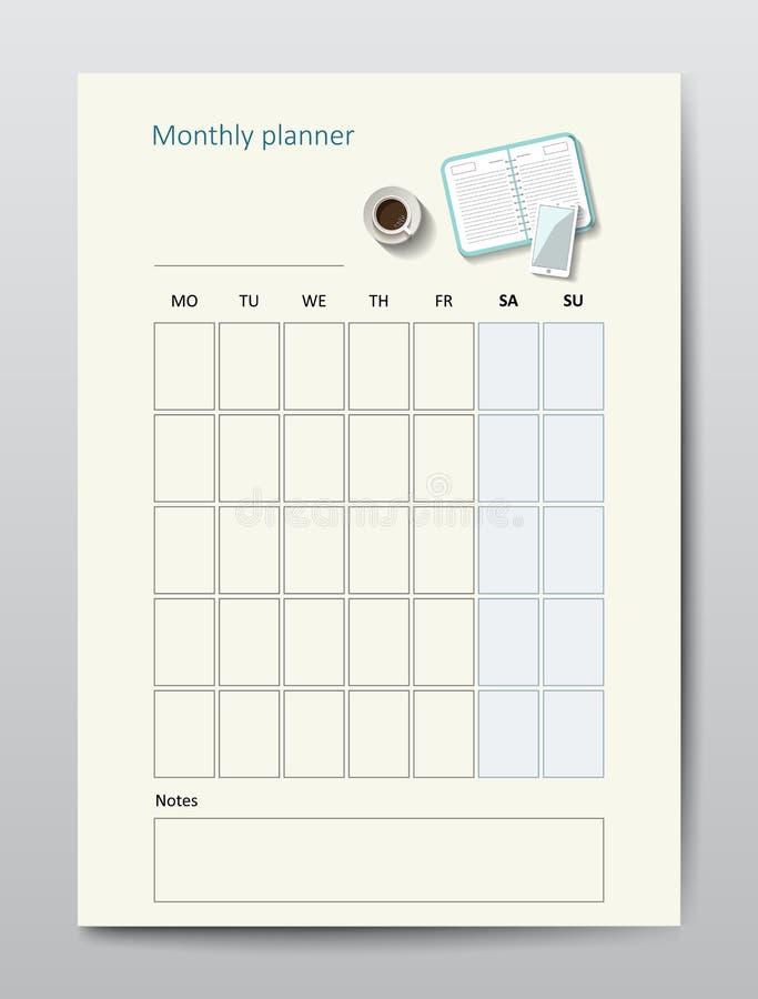 企业计划者日历传染媒介模板包月 库存例证