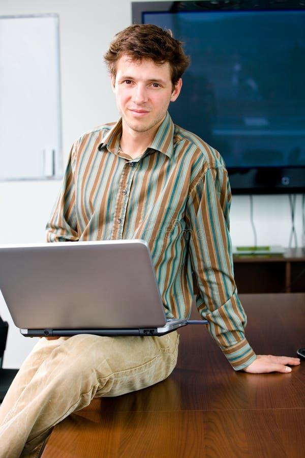 企业计算机人使用 图库摄影
