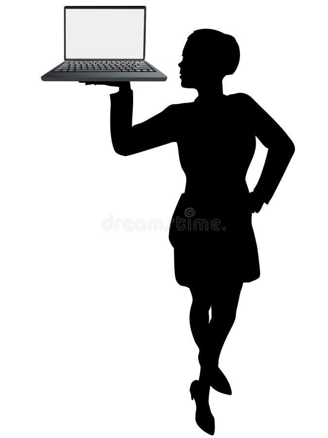 企业计算机拿着妇女的膝上型计算机&# 库存例证