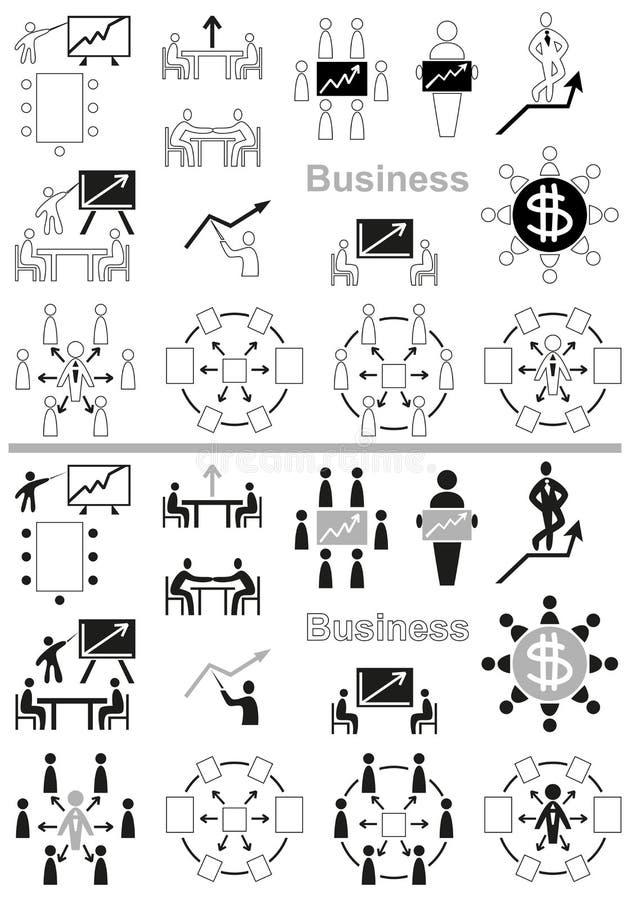 企业象谈判桌和图表 向量例证