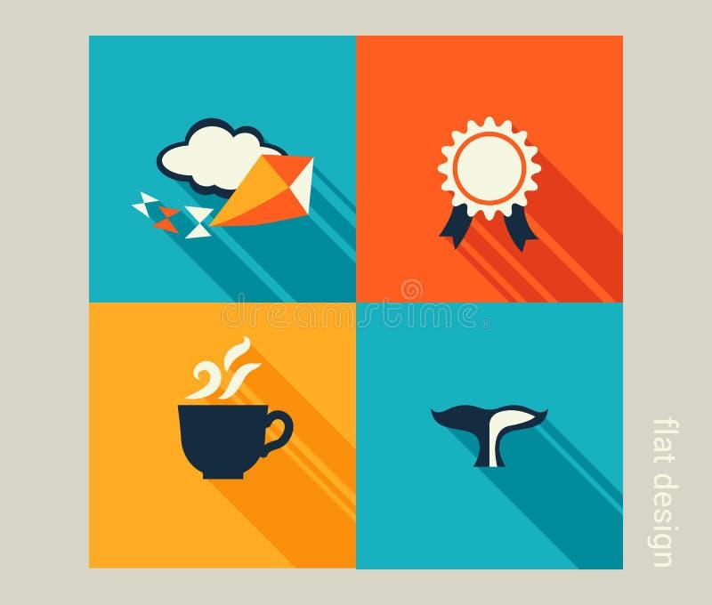 企业象集合 假期,假日,休闲 平的设计 库存例证