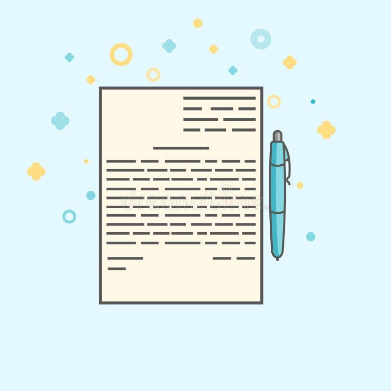 企业象,管理 合同和笔的简单的传染媒介象 平的样式 皇族释放例证