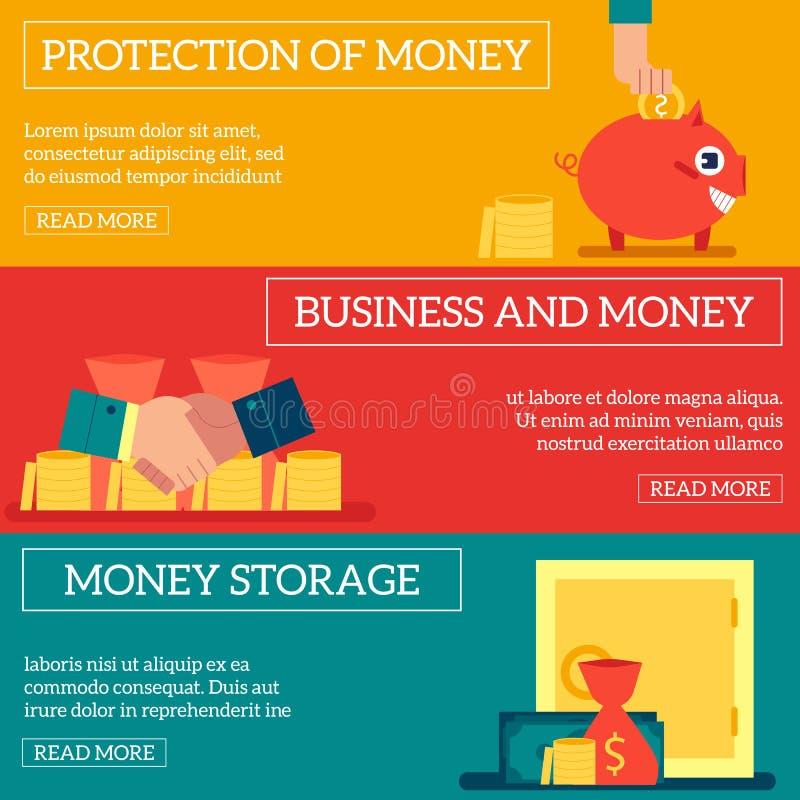 企业财务概念水平的横幅设置了与与现金存贮和金钱堆的各种各样的场面 皇族释放例证
