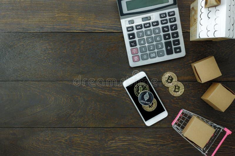 企业财务背景的台式视图空中图象 免版税库存图片