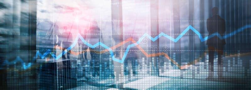 企业财政贸易投资概念图表虚屏两次曝光 免版税库存图片