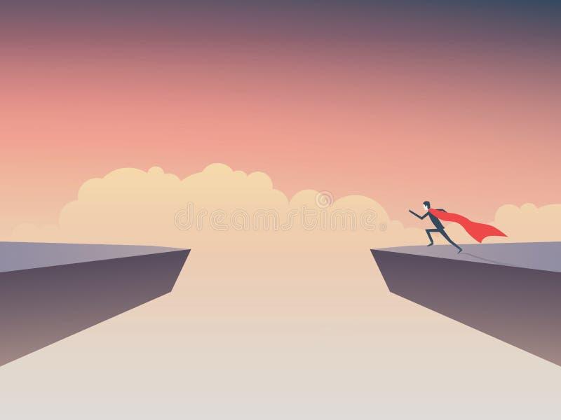 企业超级英雄跳过的商人赛跑空白在两峭壁之间 向量例证