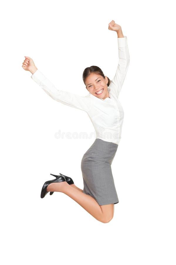 企业跳的成功妇女 免版税图库摄影