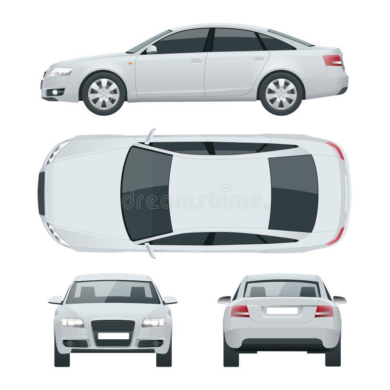 企业轿车车 汽车模板传染媒介例证视图前面,后方,边,上面 改变在一个的肤色 向量例证
