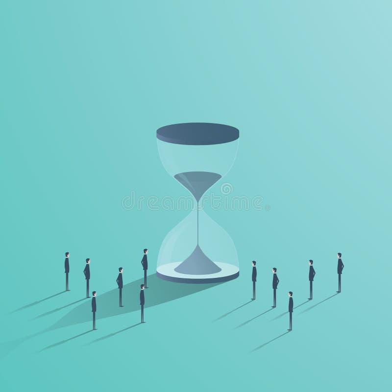 企业配合和时间传染媒介概念 站立在滴漏,最后期限,项目管理的标志附近的商人 库存例证