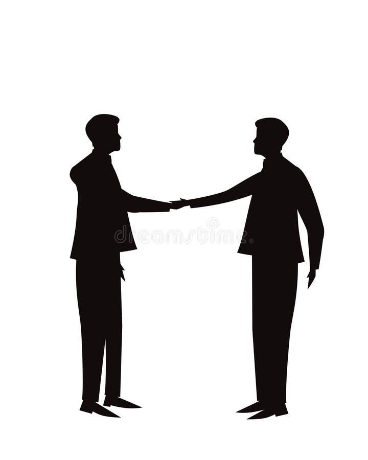 企业配合成交协议合作概念 一起握手的商人 向量例证