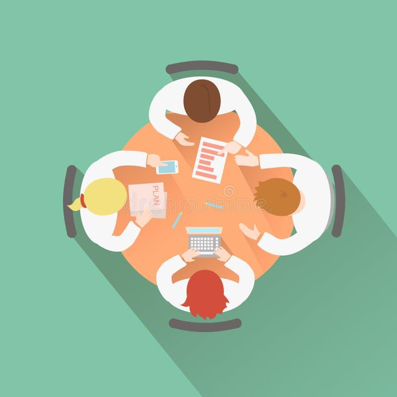 企业配合概念顶视图小组人 向量例证