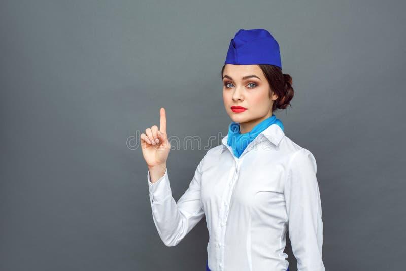 企业重活职业人专业工作 在灰色指向隔绝的空中小姐身分沉思 免版税库存照片