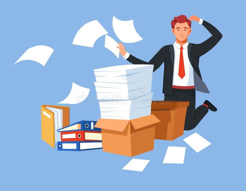 企业重音超载文件夹和文件的文书工作人 皇族释放例证