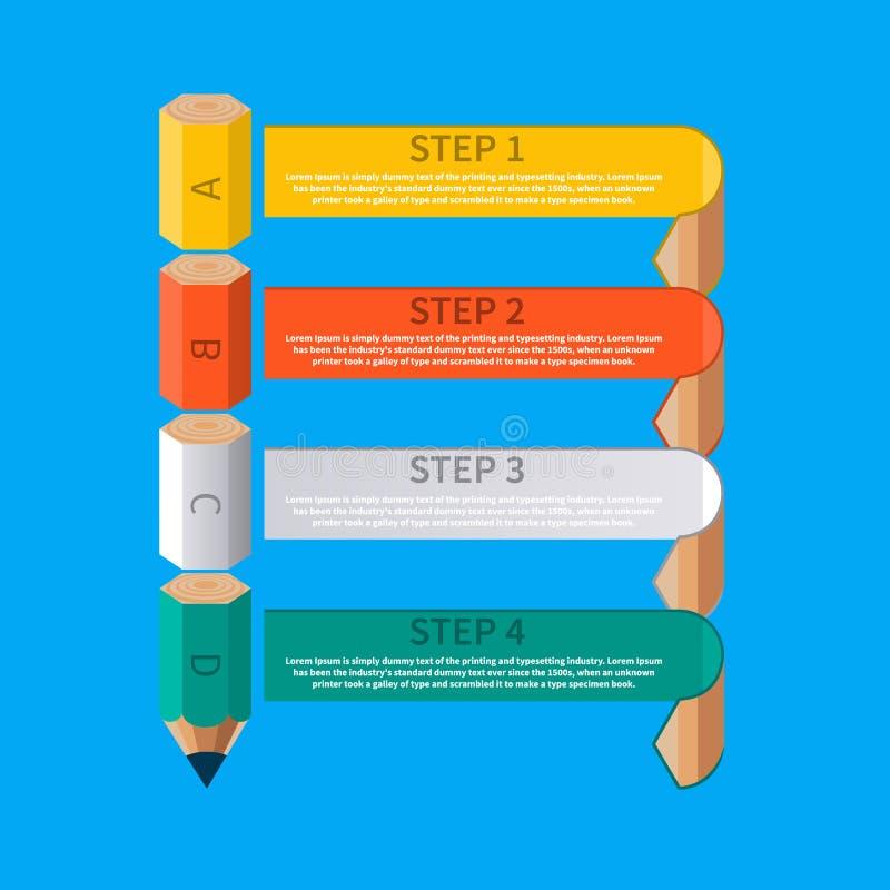 企业铅笔楼梯Infographics选择 库存例证