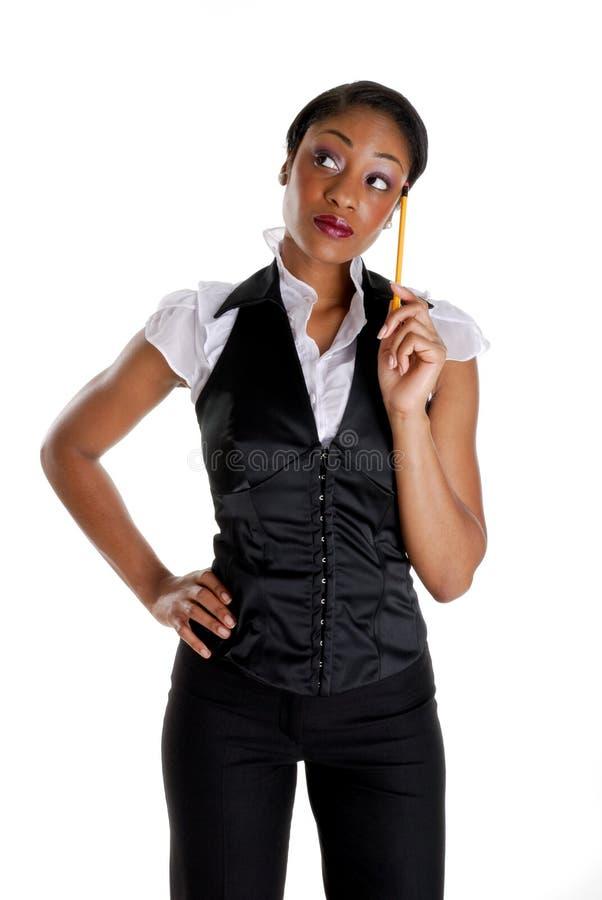 企业铅笔认为的妇女 图库摄影