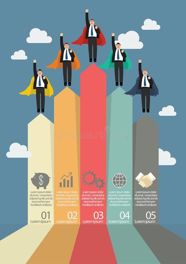 企业销售infographic与商人超级英雄 库存例证