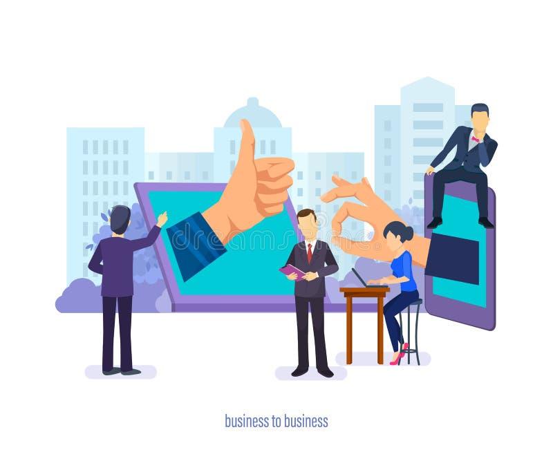 企业间 业务管理,通信,供应链,市场研究 向量例证