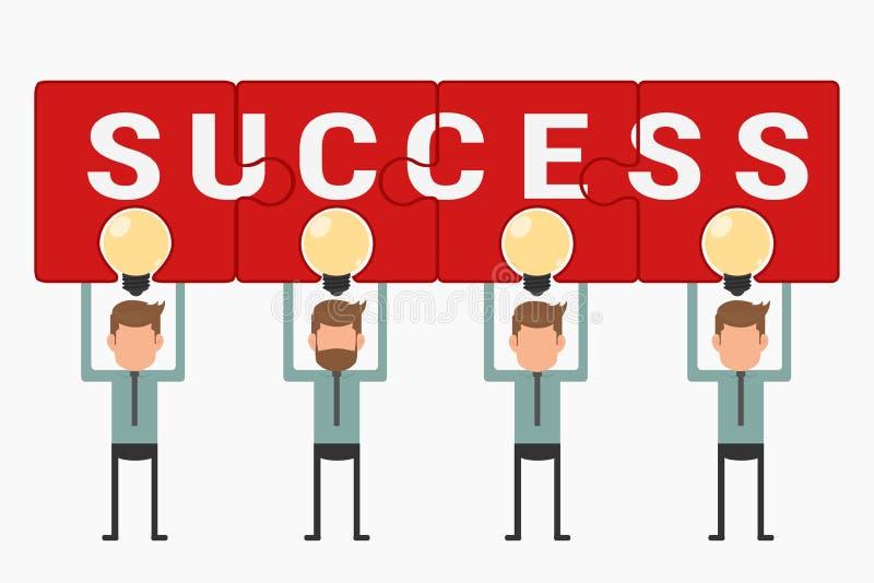 企业队举行和显示在电灯泡想法上的难题成功 向量例证